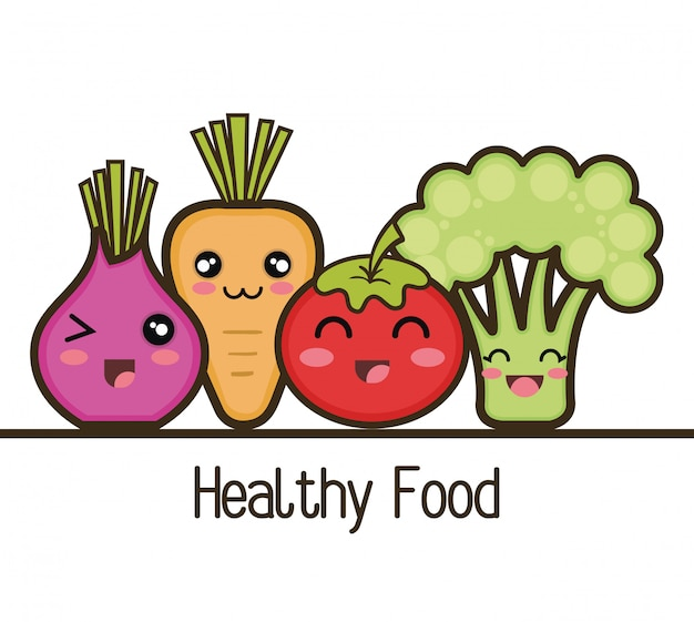 Conjunto De Design De Alimentos Saudaveis Dos Desenhos Animados
