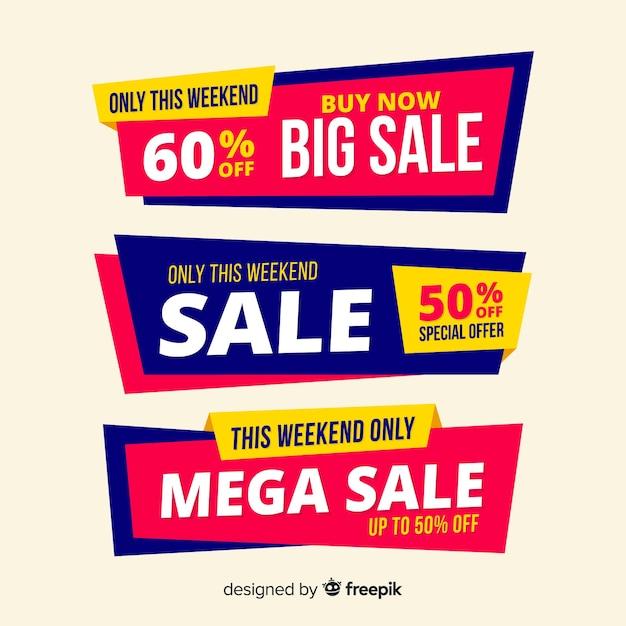 Conjunto de design de banner de vendas grande, mega venda Vetor grátis