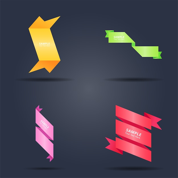 Conjunto de design de banners de fitas coloridas abstratas Vetor Premium