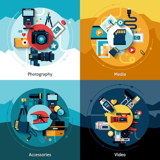 Conjunto de design de câmera Vetor grátis