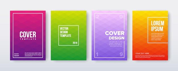 Conjunto de design de capa com modelo geométrico mínimo gradiente Vetor Premium