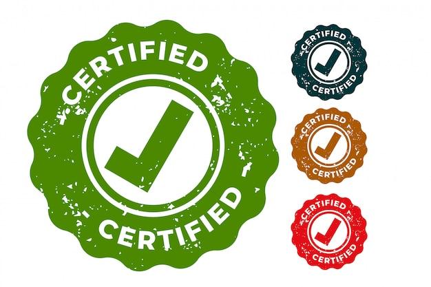 Conjunto de design de carimbos de borracha certificados de quatro Vetor grátis