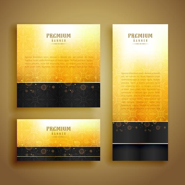 Conjunto de design de cartão dourado de luxo Vetor grátis