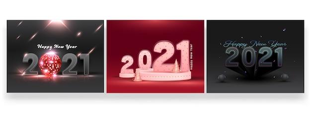 Conjunto de design de cartaz de comemoração de feliz ano novo de 2021 para publicidade Vetor Premium
