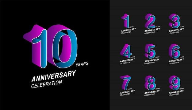 Conjunto de design de celebração de aniversário colorido. Vetor Premium