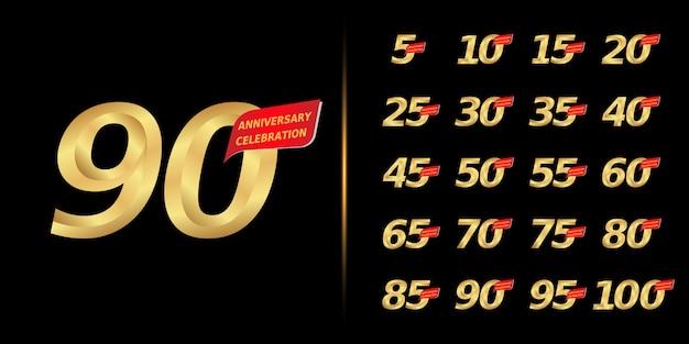 Conjunto de design de comemoração de aniversário dourado. Vetor Premium