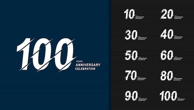 Conjunto de design de comemoração de aniversário moderno. Vetor Premium
