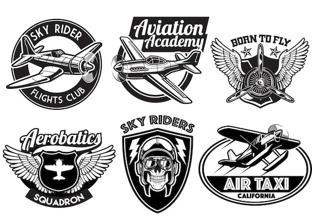 Conjunto de design de distintivo de aviação Vetor Premium