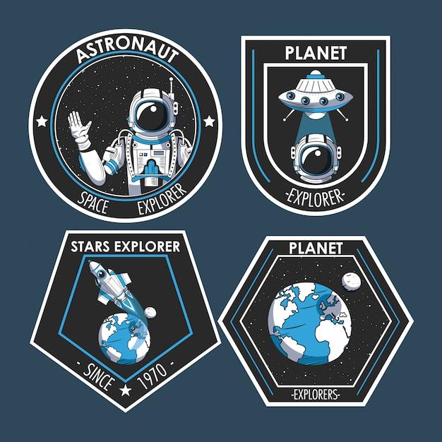 Conjunto de design de emblemas de patches de explorador de espaço Vetor grátis