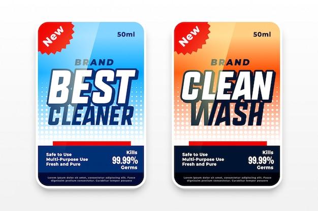 Conjunto de design de etiquetas de lavagem detergente de dois Vetor grátis