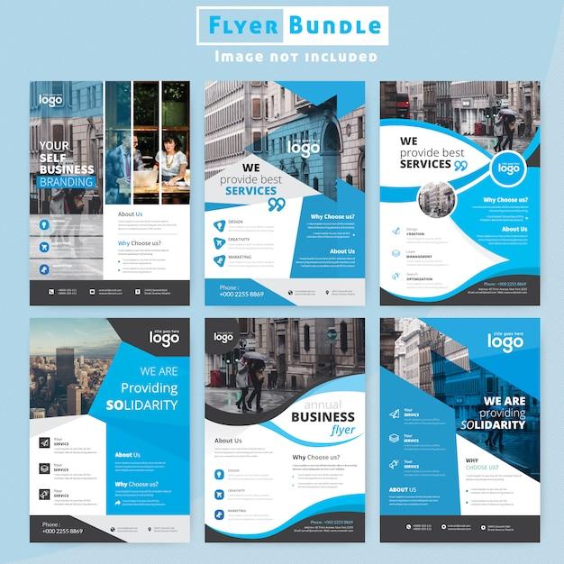 Conjunto de design de folheto corporativo Vetor Premium
