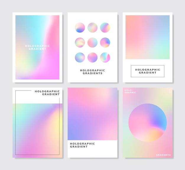 Conjunto de design de fundo gradiente holográfico colorido Vetor grátis
