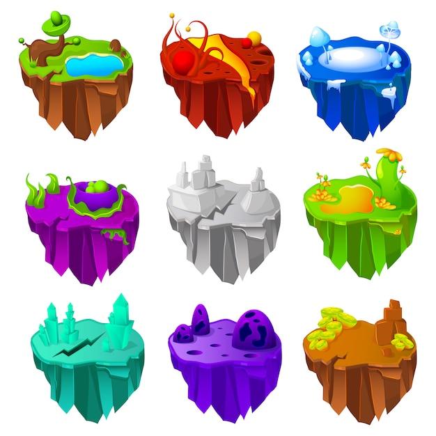 Conjunto de design de jogo de ilhas Vetor grátis