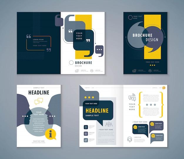 Conjunto de design de livro de capa, brochuras de modelo de vetor de fundo de bolhas de discurso Vetor Premium