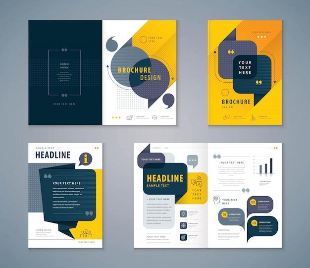 Conjunto de design de livro de capa Vetor Premium