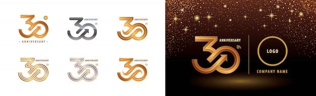 Conjunto de design de logotipo 30º aniversário, comemoração de aniversário de trinta anos Vetor Premium