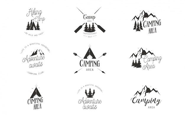 Conjunto de design de logotipo de acampamento Vetor Premium