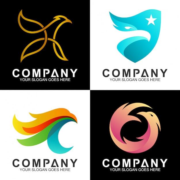 Conjunto de design de logotipo de águia Vetor Premium
