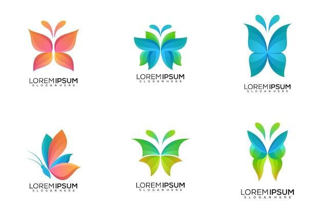 Conjunto de design de logotipo de borboleta Vetor Premium