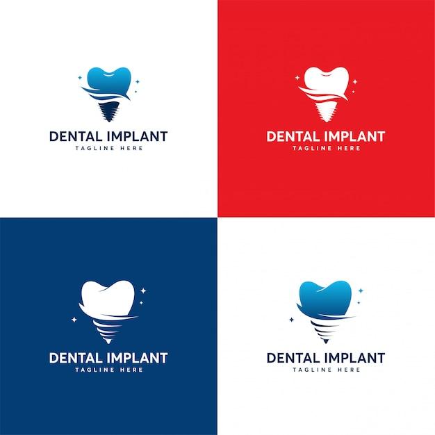 Conjunto de design de logotipo de implante dentário, modelo de logotipo de atendimento odontológico Vetor Premium