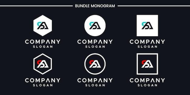 Conjunto de design de logotipo de letra de monograma criativo Vetor Premium