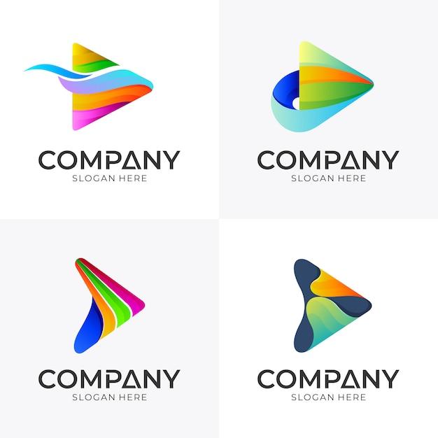 Conjunto de design de logotipo de mídia seta Vetor Premium