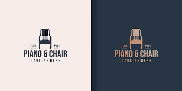 Conjunto de design de logotipo de móveis musicais Vetor Premium