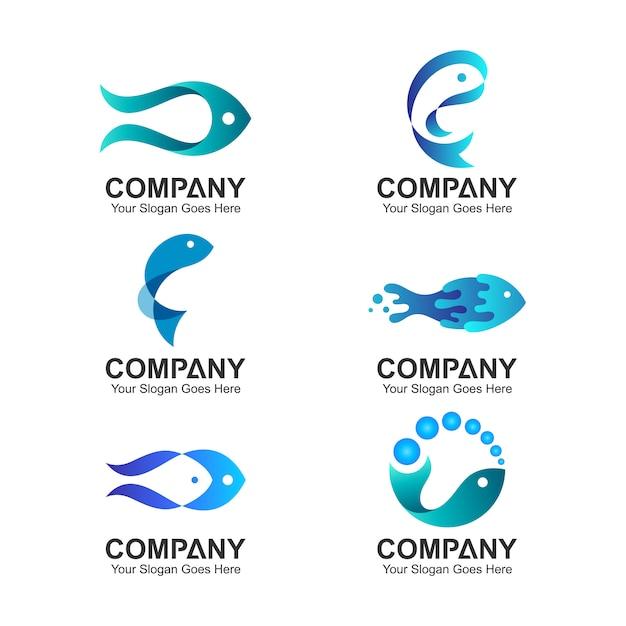 Conjunto de design de logotipo de peixe Vetor Premium