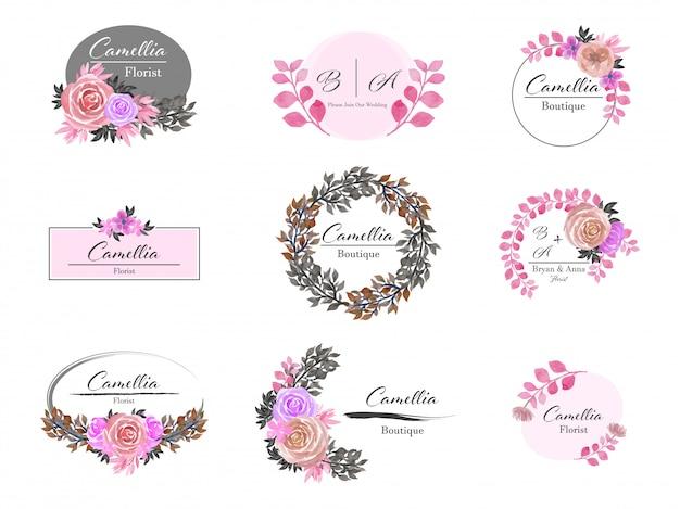 Conjunto de design de logotipo floral premade Vetor Premium
