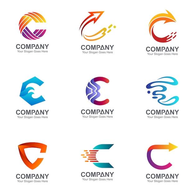 Conjunto de design de logotipo letra c Vetor Premium