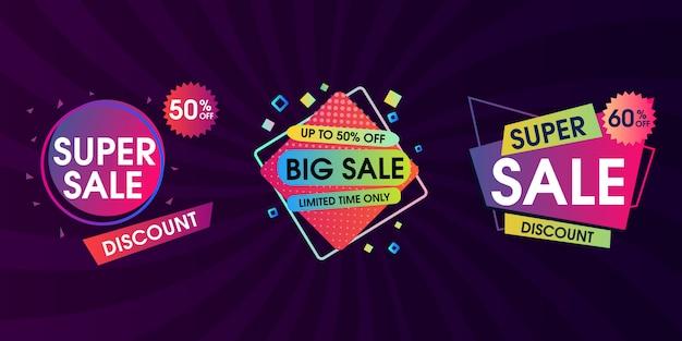 Conjunto de design de marca de venda Vetor Premium