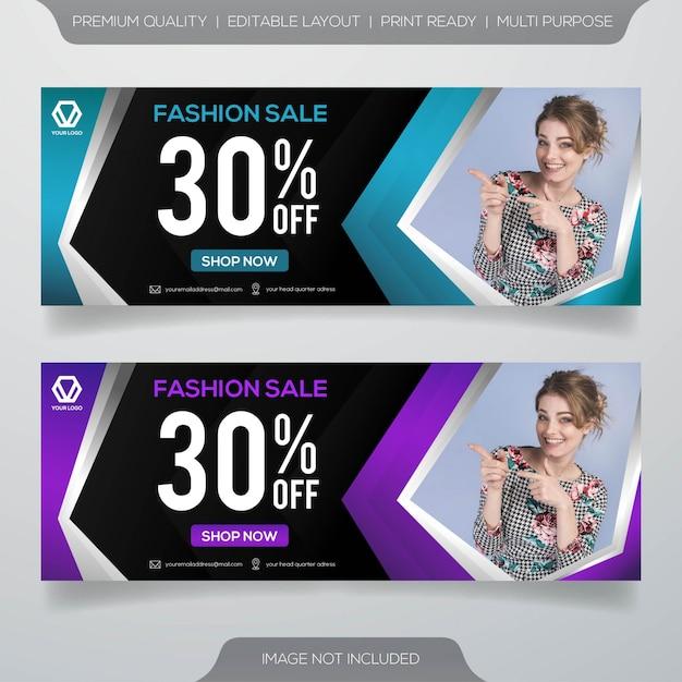 Conjunto de design de modelo de banner de venda Vetor Premium