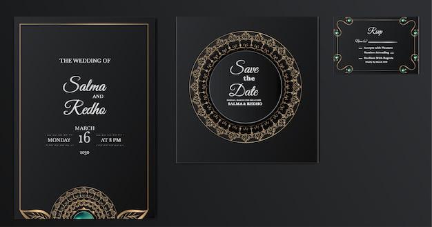 Conjunto de design de modelo de convite de casamento elegante Vetor Premium
