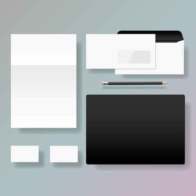 Conjunto de design de modelo de estilo de identidade corporativa, ilustração. Vetor Premium