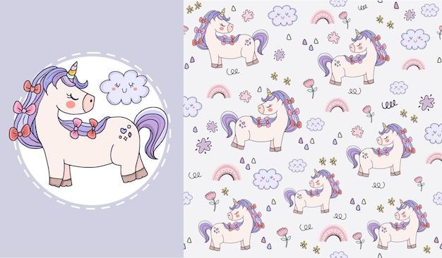 Conjunto de design de padrão sem emenda animal lindo unicórnio para crianças Vetor Premium