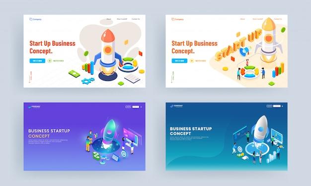 Conjunto de design de página de aterrissagem com ilustração de pessoas trabalhando juntas para o lançamento de um projeto bem-sucedido à empresa e elementos financeiros infográfico para negócios iniciar conceito. Vetor Premium