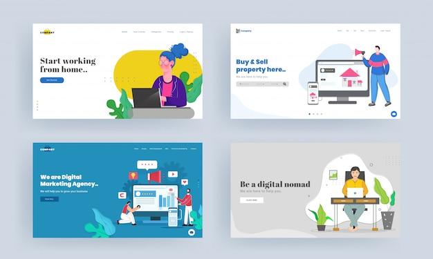 Conjunto de design de página de destino para começar a trabalhar em casa, comprar e vender imóveis, ser um nômade digital, conceito de agência de marketing digital. Vetor Premium