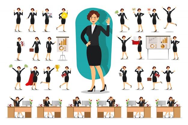 Conjunto de design de personagens de empresária. trabalhando no escritório, pose, plana Vetor Premium