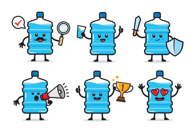Conjunto de design de personagens de galão de água Vetor Premium