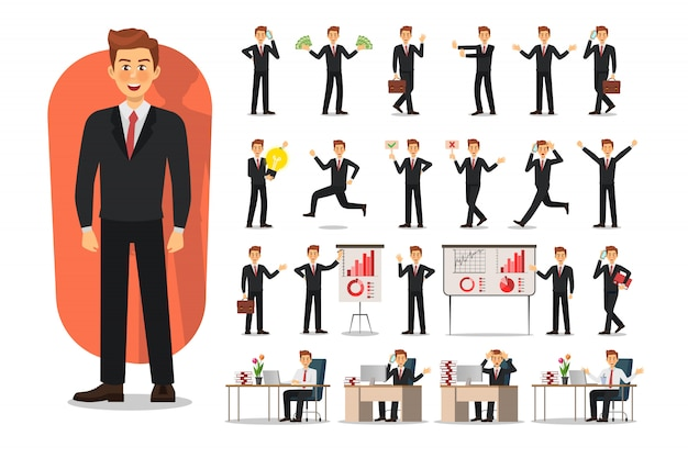Conjunto de design de personagens de homem de negócios. homem trabalhador de escritório Vetor Premium