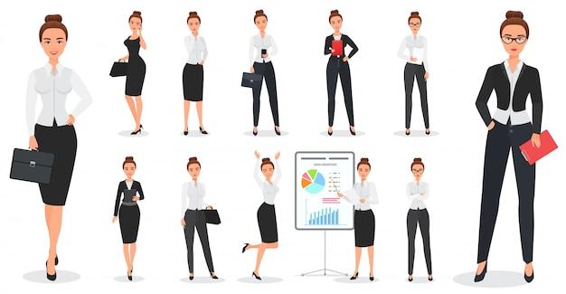 Conjunto de design de personagens de mulher de negócios bonita jovem em várias poses. Vetor Premium