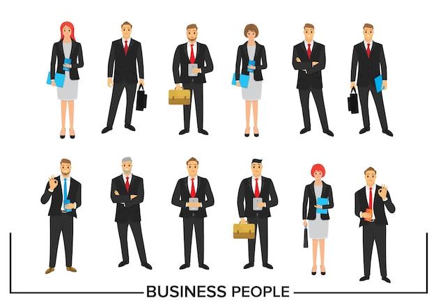 Conjunto de design de personagens de pessoas de negócios Vetor Premium