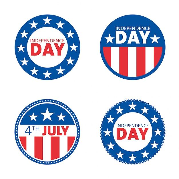 Conjunto de design de rótulo de dia da independência americana Vetor Premium