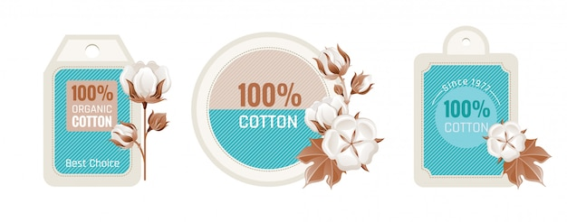 Conjunto de design de rótulo ecológico de algodão. Vetor Premium