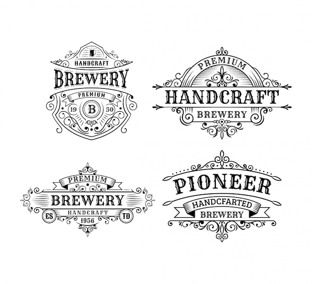 Conjunto de design de rótulo vintage cervejaria, caligrafia e tipografia elementos estilo design Vetor Premium