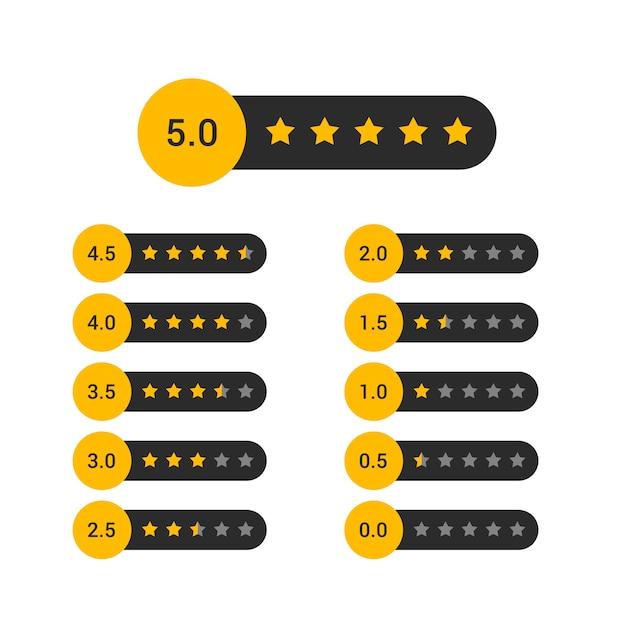 Conjunto de design de símbolo de classificação por estrelas Vetor grátis