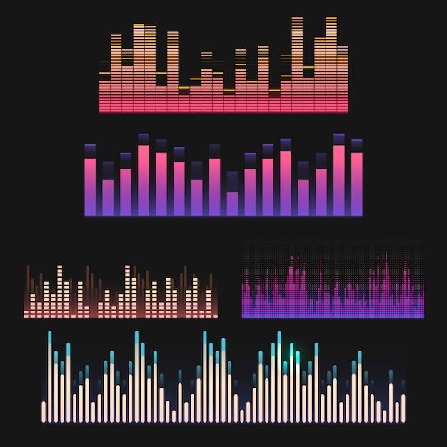 Conjunto de design de vetor de equalizador de onda de som colorido Vetor grátis