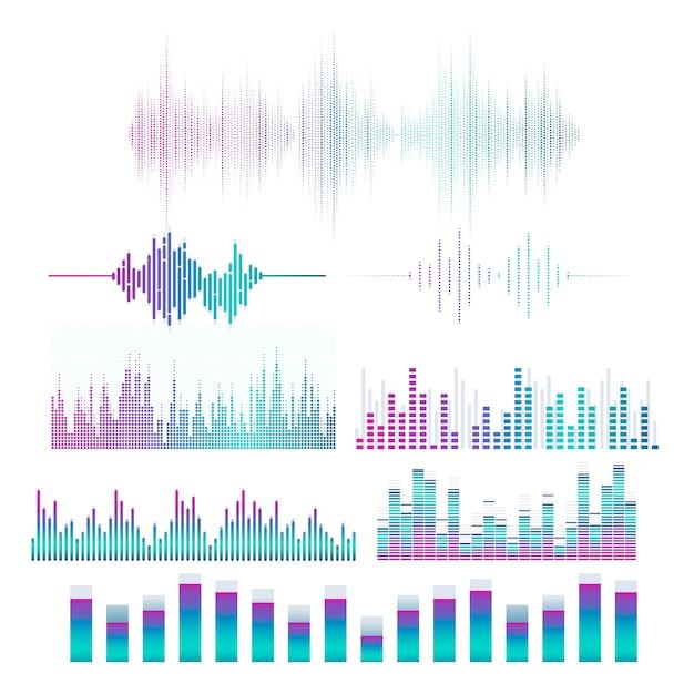 Conjunto de design de vetor de equalizador de onda sonora Vetor grátis
