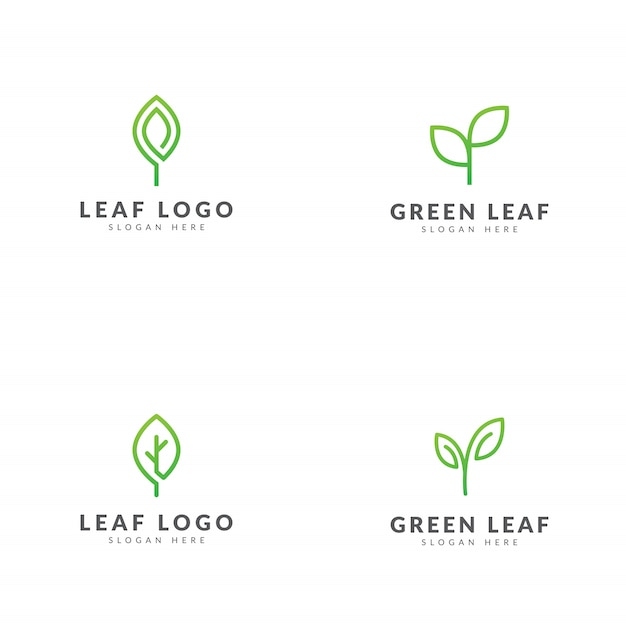 Conjunto de design de vetor de modelo de logotipo de folha verde Vetor Premium