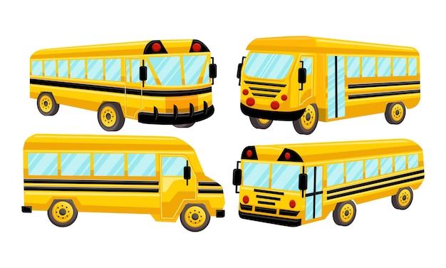 Conjunto de design do vetor de modelo de ônibus escolar isolado Vetor Premium